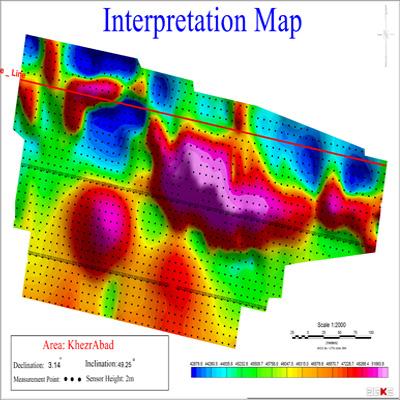 نقشه تفسیری شدت میدان مغناطیسی