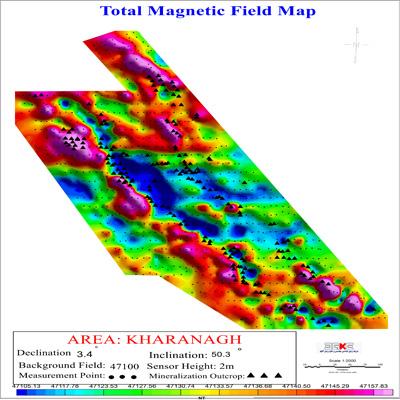 نقشه شدت کل میدان مغناطیسی